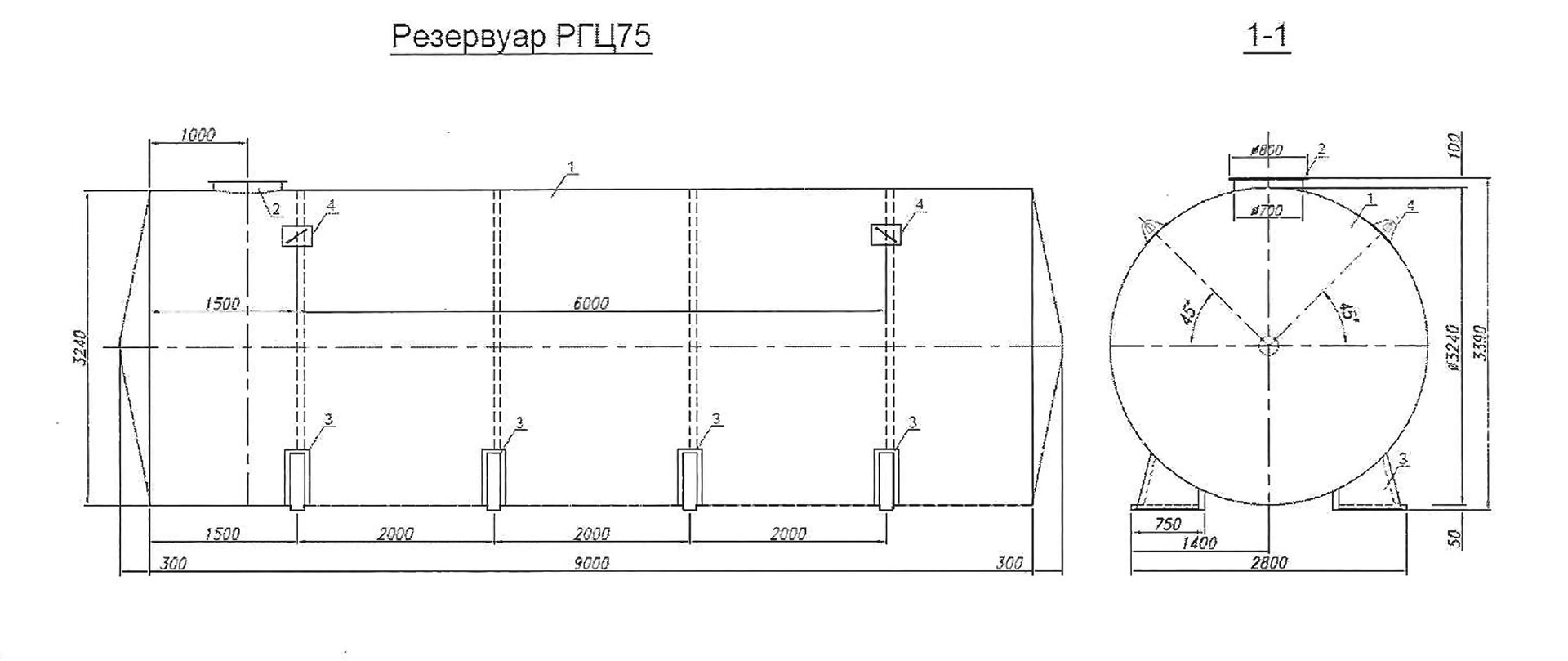 Резервуар 75 м3 под нефтепродукты на складе